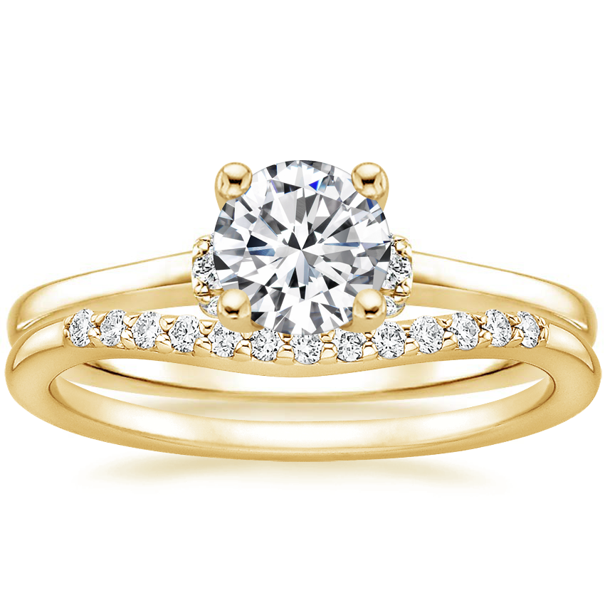 18K Yellow Gold Leighton Diamond Ring with Petite Curved Diamond Ring (1/10 ct. tw.)