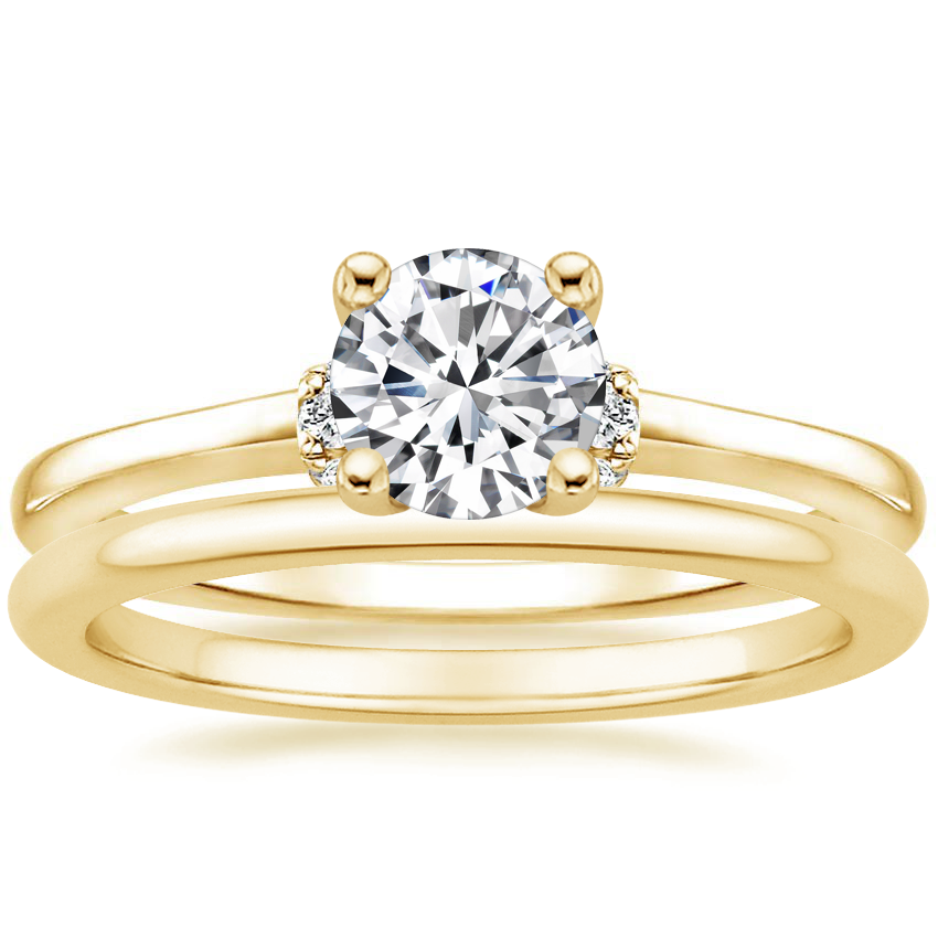 18K Yellow Gold Leighton Diamond Ring with Petite Comfort Fit Wedding Ring