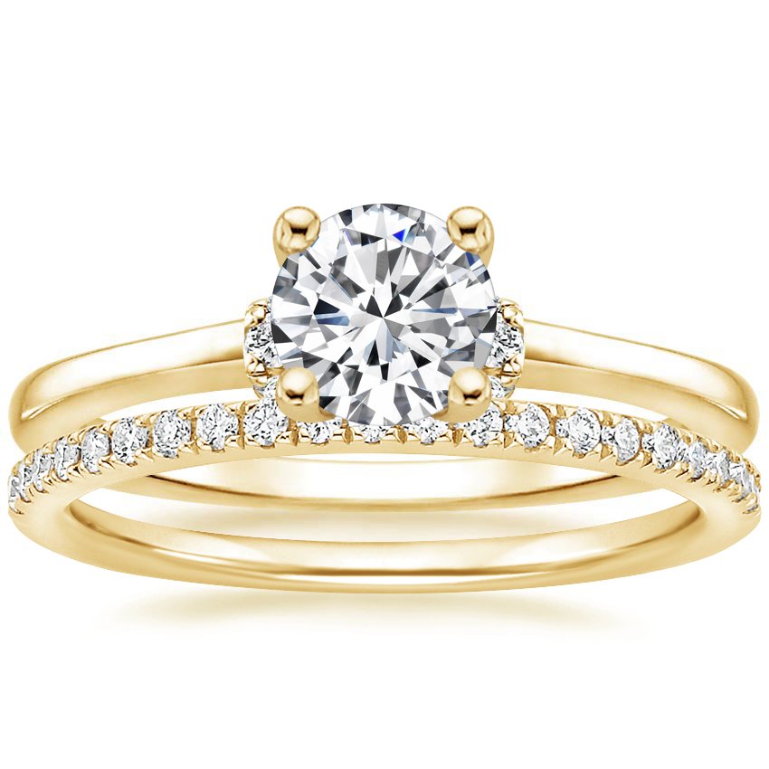 18K Yellow Gold Leighton Diamond Ring with Ballad Diamond Ring (1/6 ct. tw.)