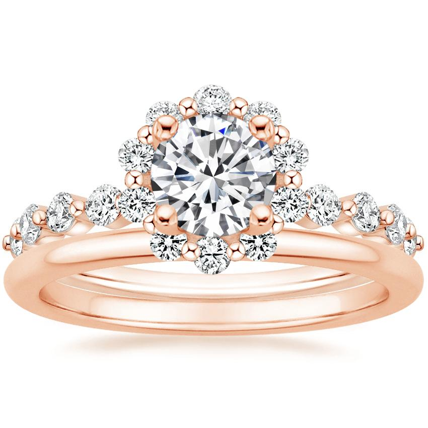 14K Rose Gold Marseille Halo Diamond Ring (1/2 ct. tw.) with Petite Comfort Fit Wedding Ring