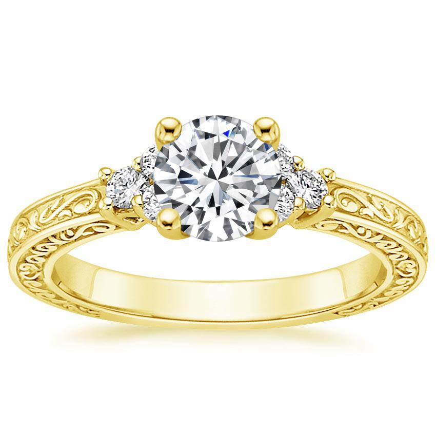 18K Yellow Gold Adorned Trio Diamond Ring, top view