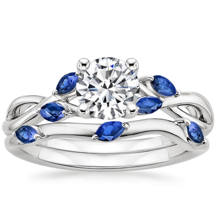 18k White Gold Willow Bridal Set With Sapphire Accents