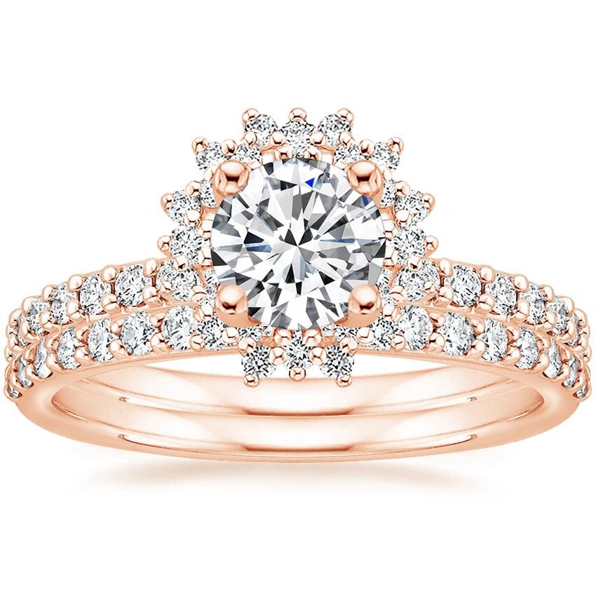 14K Rose Gold Twilight Diamond Ring with Petite Shared Prong Diamond Ring (1/4 ct. tw.)