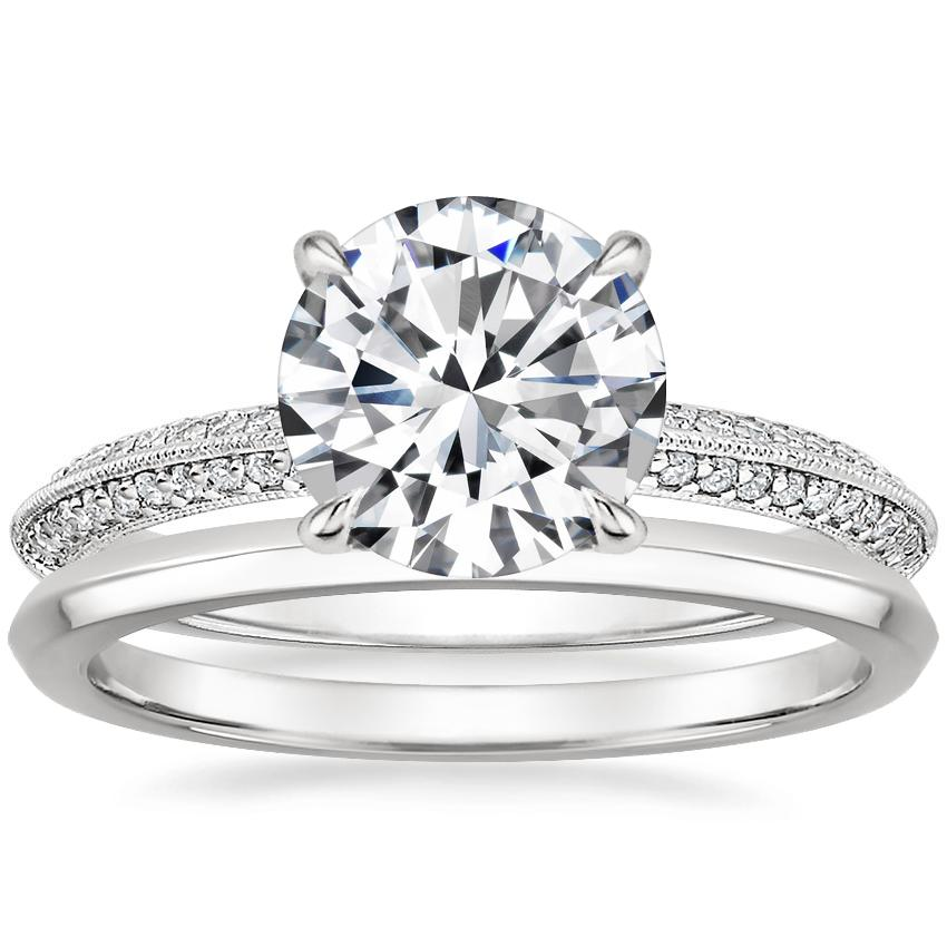 18K White Gold Callista Diamond Ring with Hazel Ring