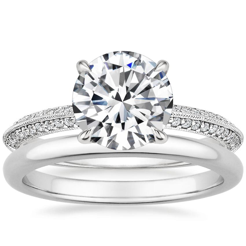 18K White Gold Callista Diamond Ring with 2mm Comfort Fit Wedding Ring