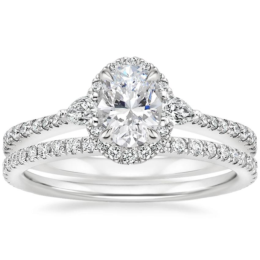 Platinum Luxe Aria Halo Diamond Ring with Luxe Ballad Diamond Ring (1/4 ct. tw.)