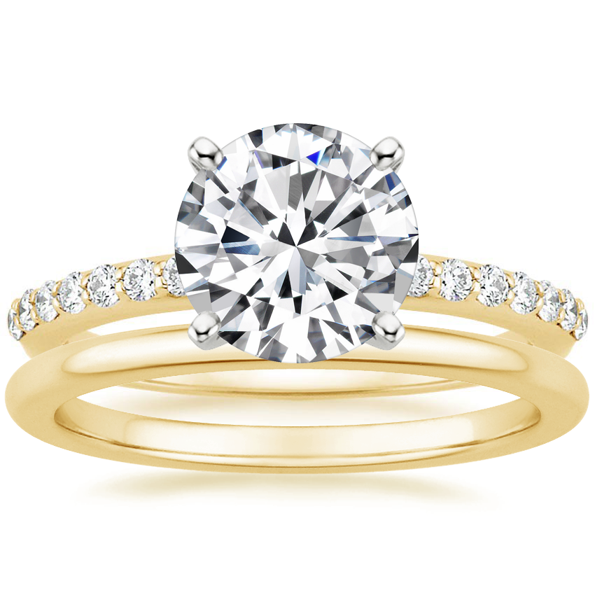 18K Yellow Gold Petite Shared Prong Diamond Ring (1/4 ct. tw.) with Petite Comfort Fit Wedding Ring
