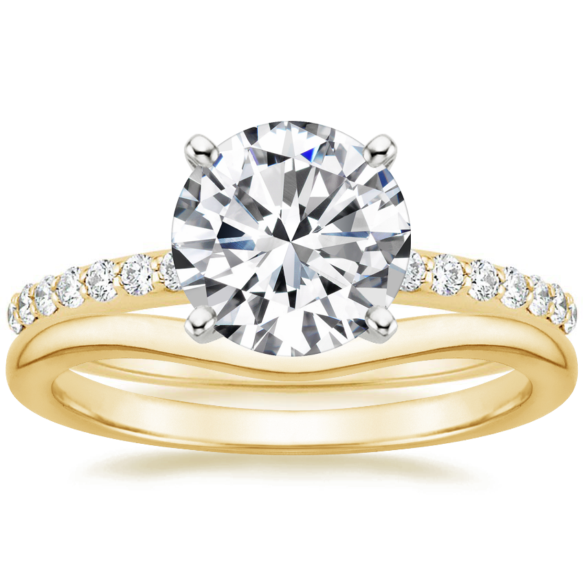 18K Yellow Gold Petite Shared Prong Diamond Ring (1/5 ct. tw.) with Petite Curved Wedding Ring
