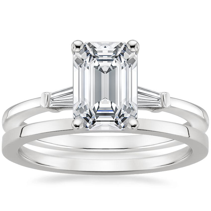 Platinum Tapered Baguette Diamond Ring with Petite Quattro Wedding Ring