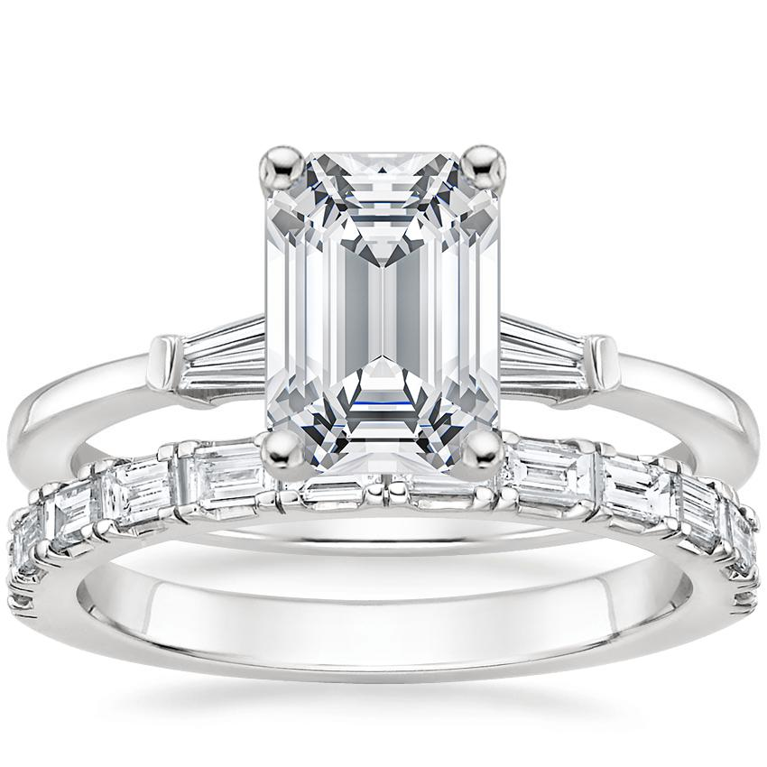 Platinum Tapered Baguette Diamond Ring with Gemma Diamond Ring (1/2 ct. tw.)