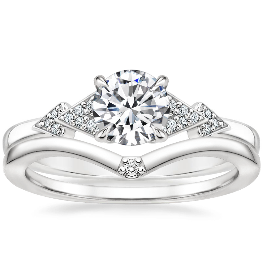 18K White Gold Alta Diamond Ring with Arc Diamond Ring