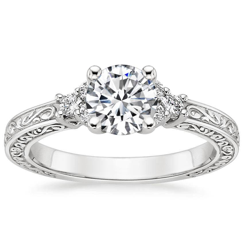 18K White Gold Adorned Trio Diamond Ring, top view