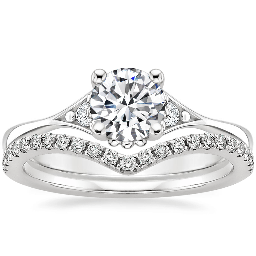 18K White Gold Dolce Diamond Ring with Flair Diamond Ring (1/6 ct. tw.)