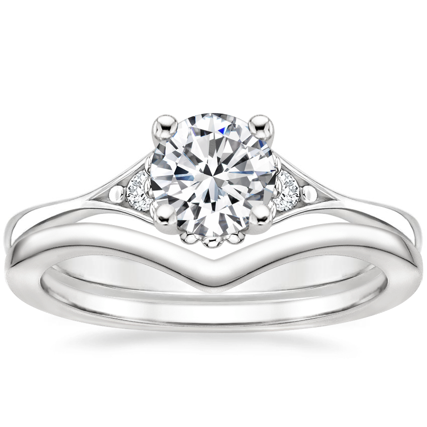 18K White Gold Dolce Diamond Ring with Chevron Ring