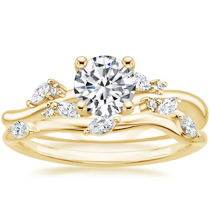 18K Yellow Gold Arden Diamond Ring with Willow Contoured Diamond Ring (1/10 ct. tw.)