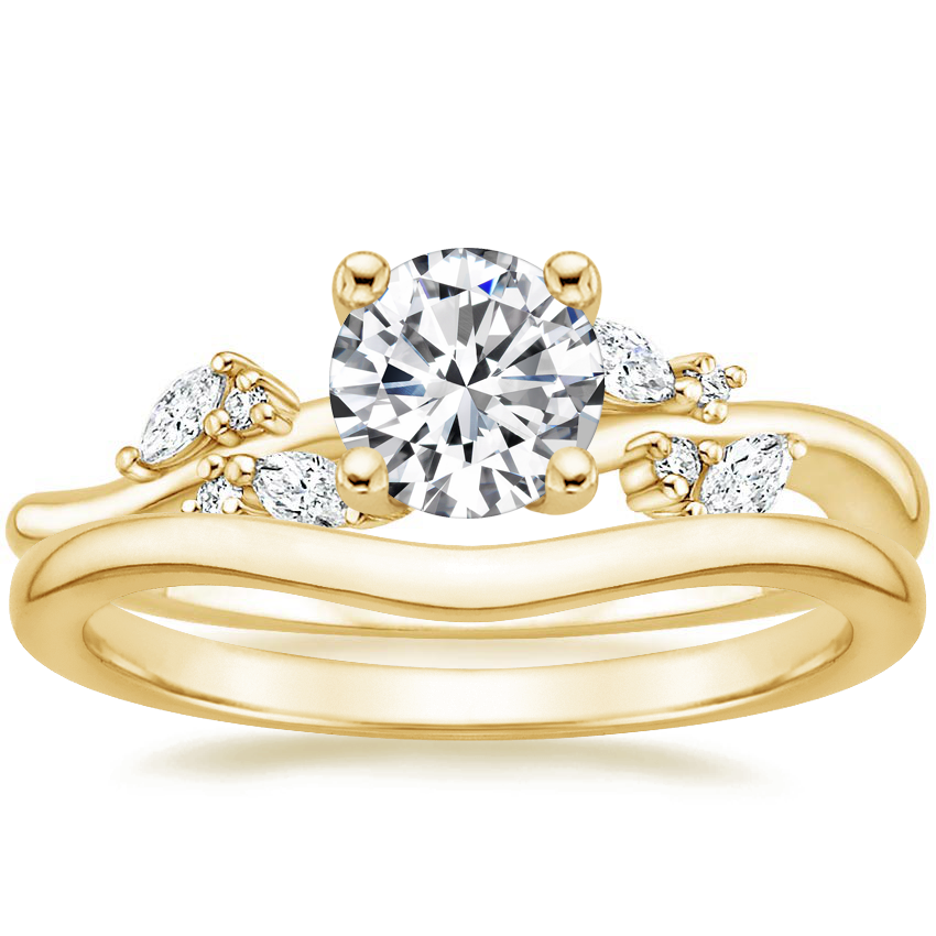 18K Yellow Gold Arden Diamond Ring with Petite Curved Wedding Ring