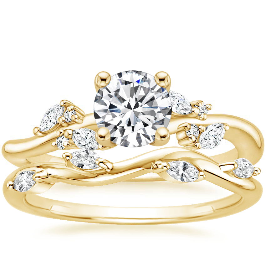 18K Yellow Gold Arden Diamond Ring with Winding Willow Diamond Ring (1/8 ct. tw.)