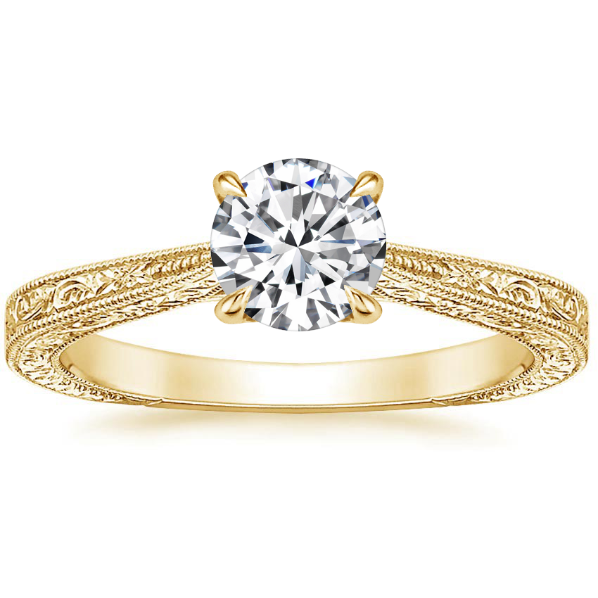 Round 18K Yellow Gold Elsie Ring