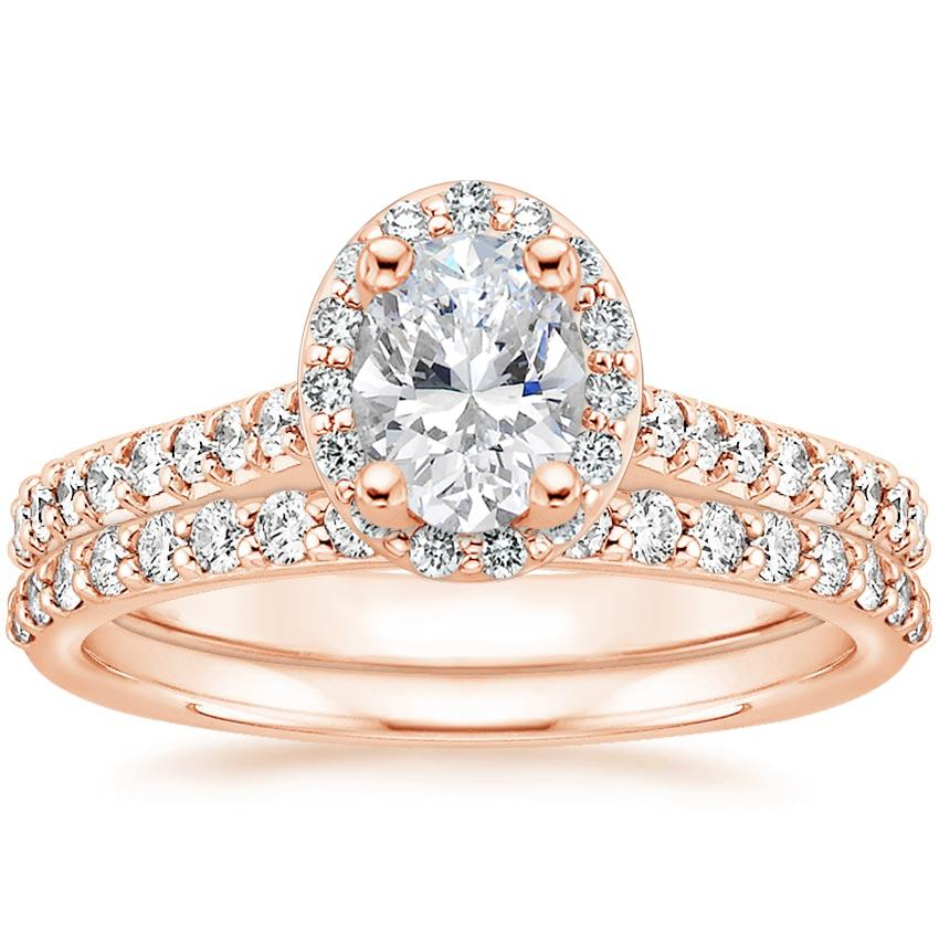 14K Rose Gold Fancy Halo Diamond Ring with Side Stones (1/3 ct. tw.) with Petite Shared Prong Diamond Ring (1/4 ct. tw.)