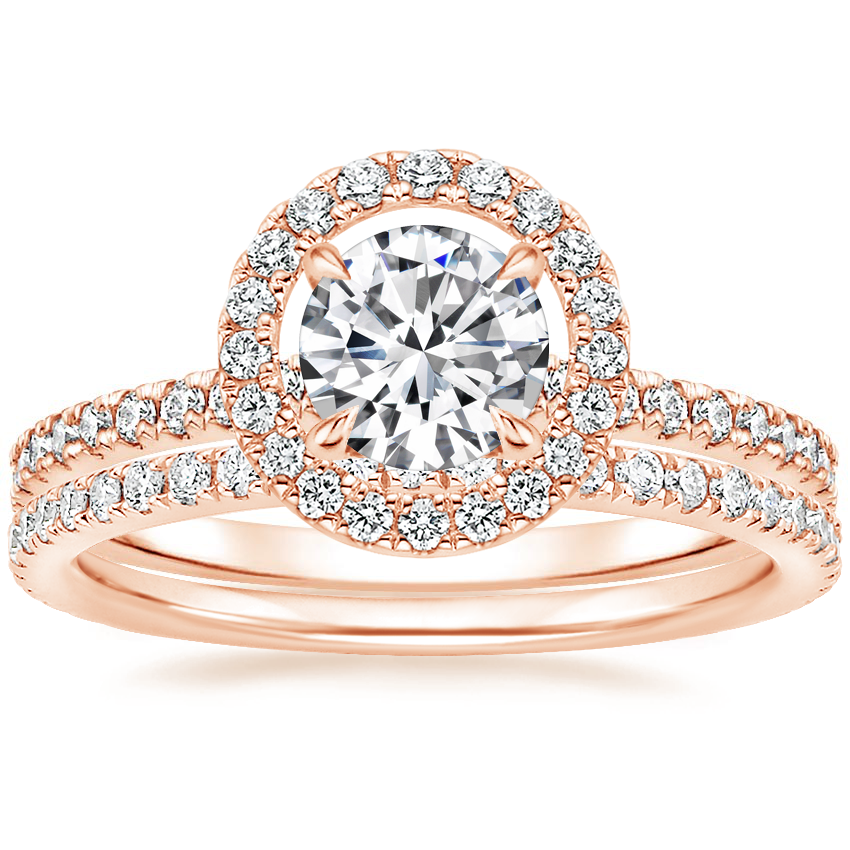 14K Rose Gold Aura Diamond Ring with Luxe Ballad Diamond Ring (1/4 ct. tw.)