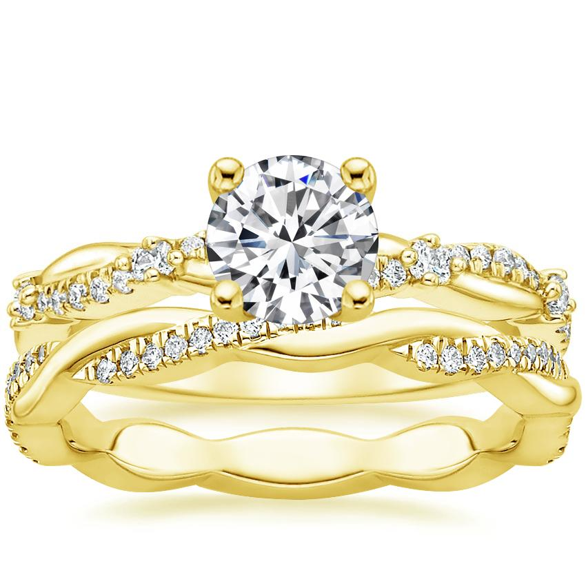 18K Yellow Gold Meadow Diamond Ring with Petite Twisted Vine Eternity Diamond Ring (1/5 ct. tw.)