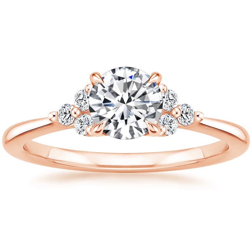 Round 14K Rose Gold Melody Diamond Ring