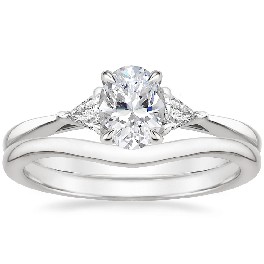 18K White Gold Esprit Diamond Ring with Petite Curved Wedding Ring