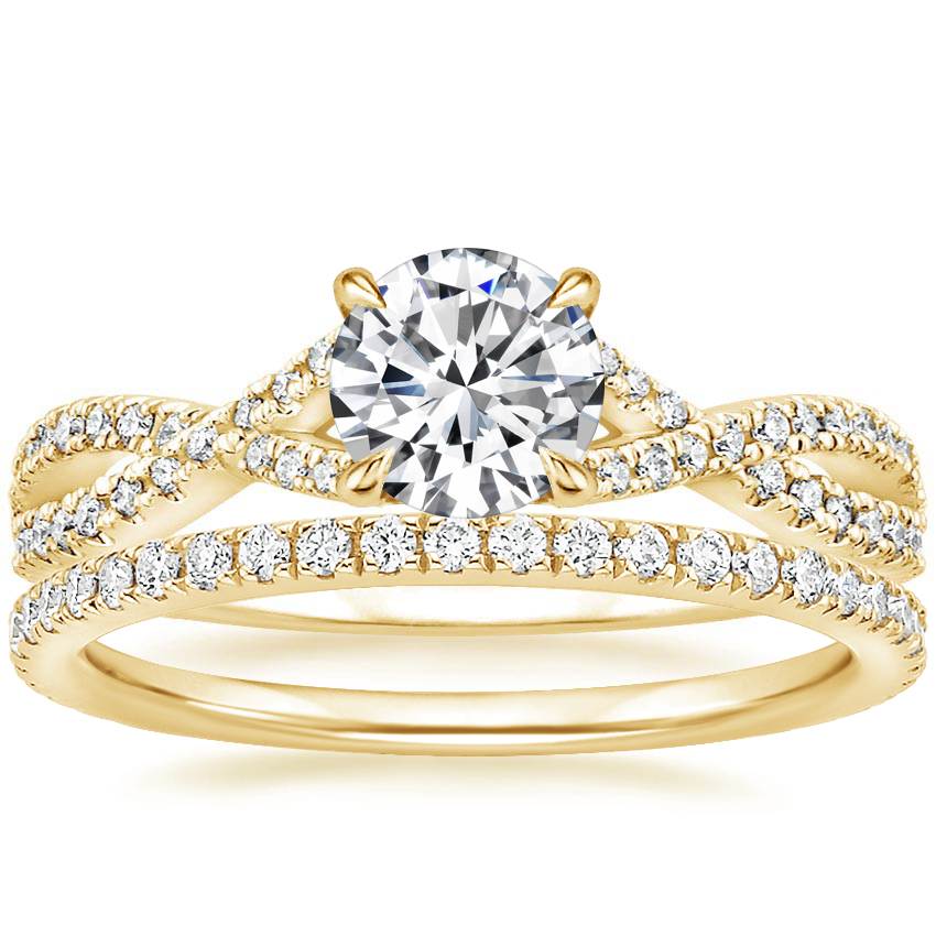 18K Yellow Gold Chloe Diamond Ring (1/4 ct. tw.) with Luxe Ballad Diamond Ring (1/4 ct. tw.)