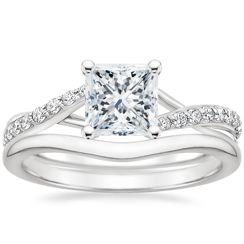 Platinum Luxe Chamise Diamond Ring (1/5 ct. tw.) with Petite Curved Wedding Ring