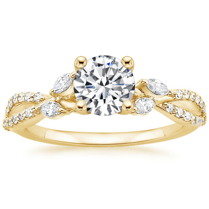 Round 18K Yellow Gold Luxe Willow Diamond Ring (1/4 ct. tw.)