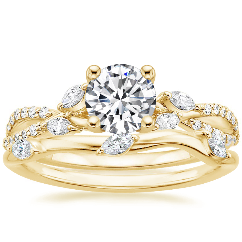 18K Yellow Gold Luxe Willow Diamond Ring (1/4 ct. tw.) with Willow Diamond Ring (1/10 ct. tw.)
