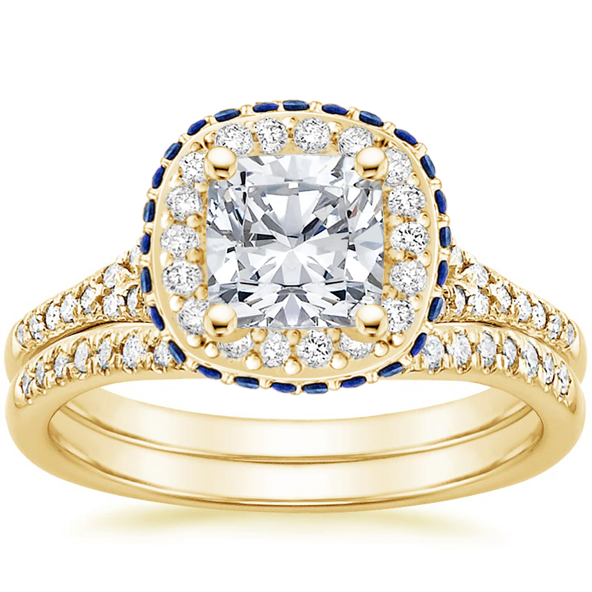 18K Yellow Gold Circa Diamond Bridal Set with Sapphire Accents (1/3 ct. tw.)