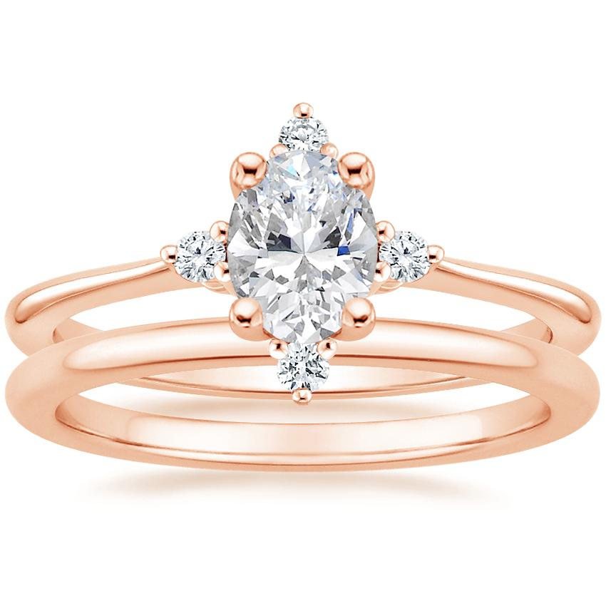14K Rose Gold Luminesce Diamond Ring with Petite Comfort Fit Wedding Ring