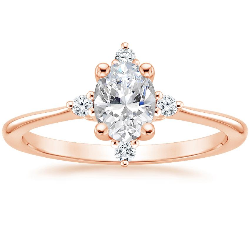 Oval Compass Inspired Halo Engagement Ring