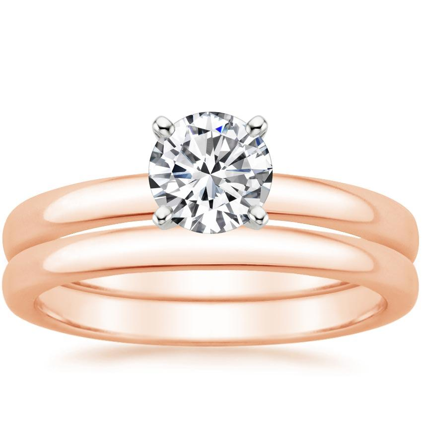 14K Rose Gold 2.5mm Comfort Fit Bridal Set