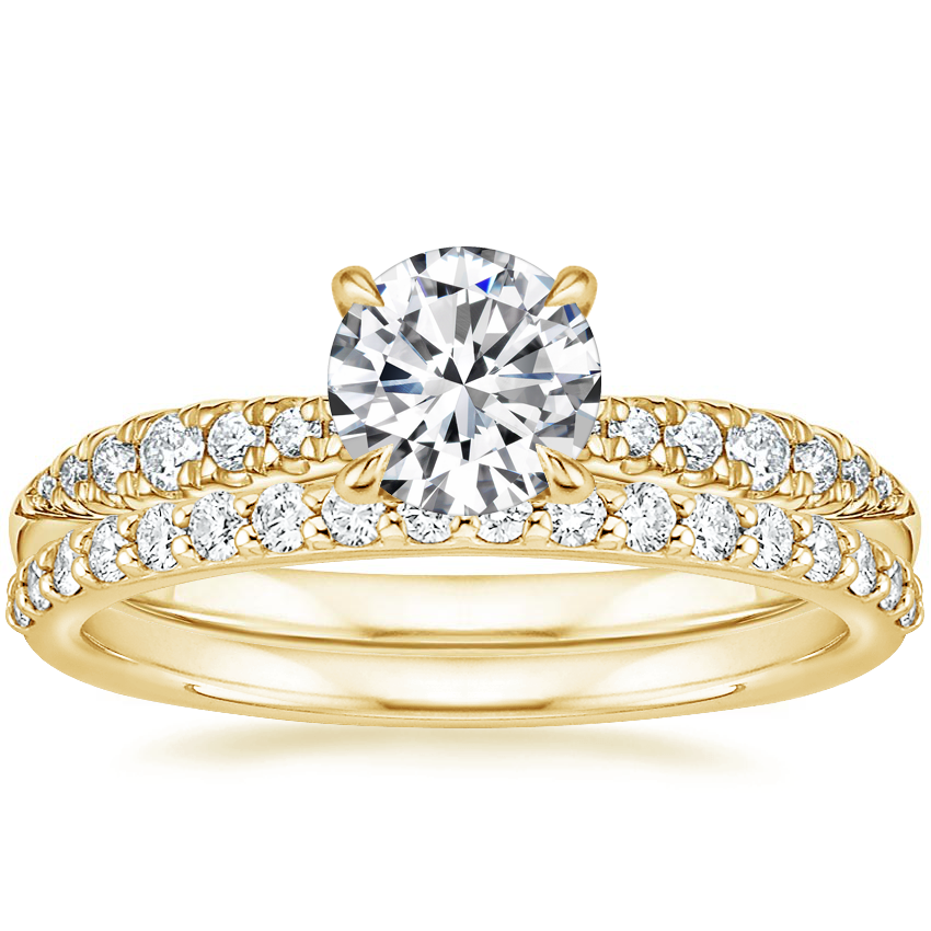 18K Yellow Gold Emmeline Diamond Ring with Petite Shared Prong Diamond Ring (1/4 ct. tw.)