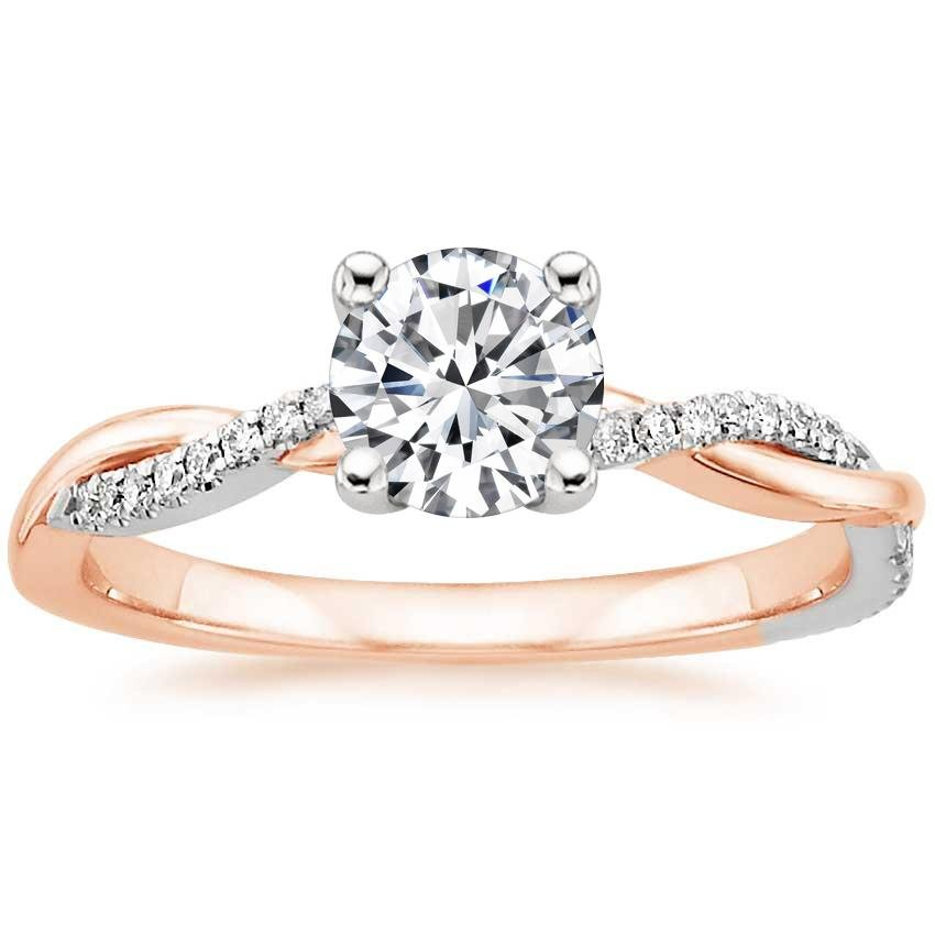 Round Two Tone Engagement Ring