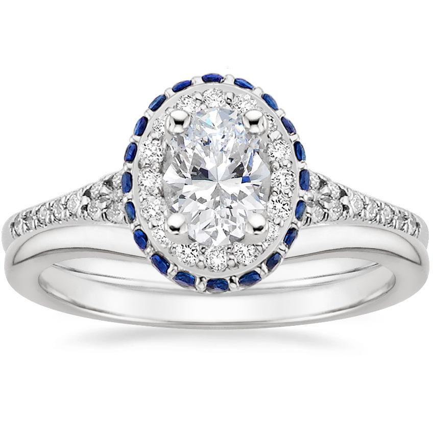 18K White Gold Circa Diamond Ring with Sapphire Accents (1/3 ct. tw.) with Petite Curved Wedding Ring