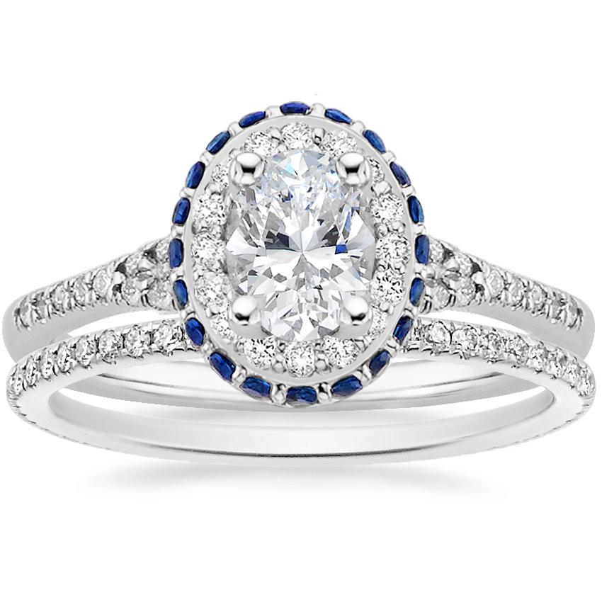 18K White Gold Circa Diamond Ring with Sapphire Accents (1/3 ct. tw.) with Whisper Eternity Diamond Ring (1/4 ct. tw.)