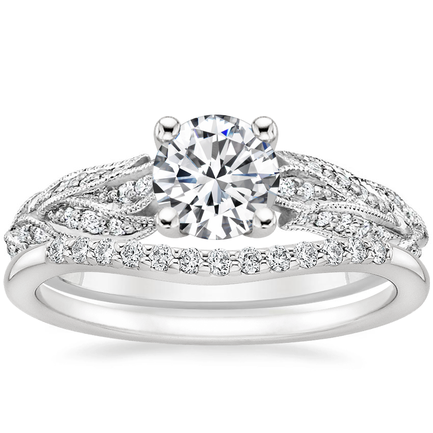 Platinum Plume Diamond Ring with Petite Curved Diamond Ring