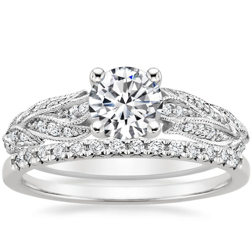 18K White Gold Plume Diamond Ring with Sonora Diamond Ring (1/8 ct. tw.)
