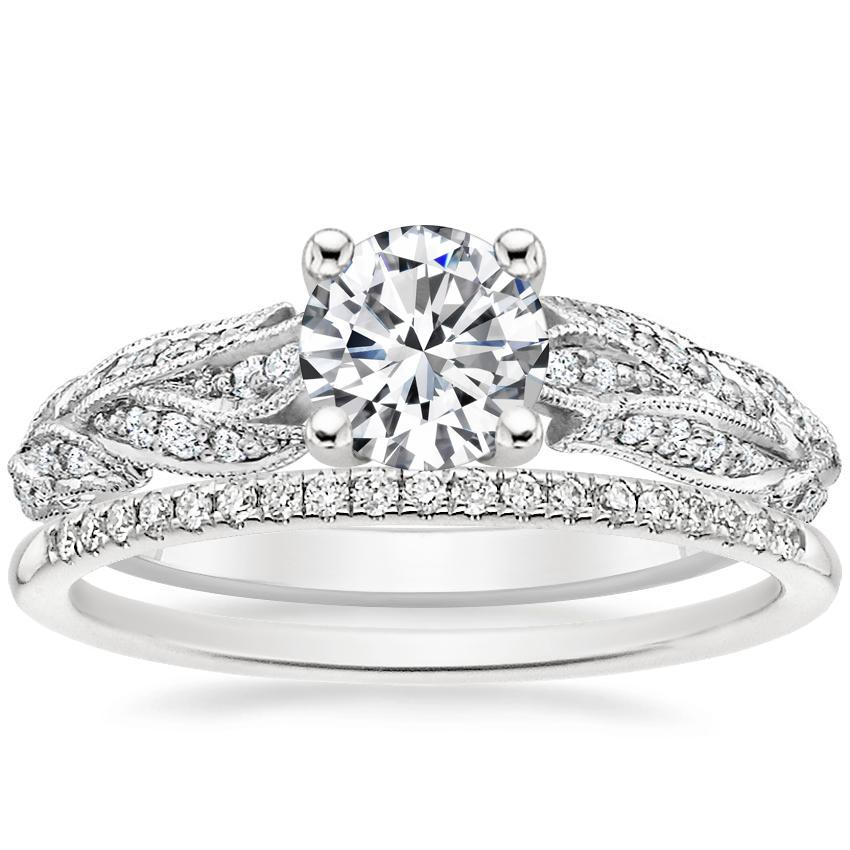 18K White Gold Plume Diamond Ring with Whisper Diamond Ring (1/10 ct. tw.)