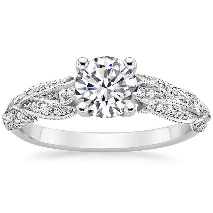 Round Platinum Plume Diamond Ring