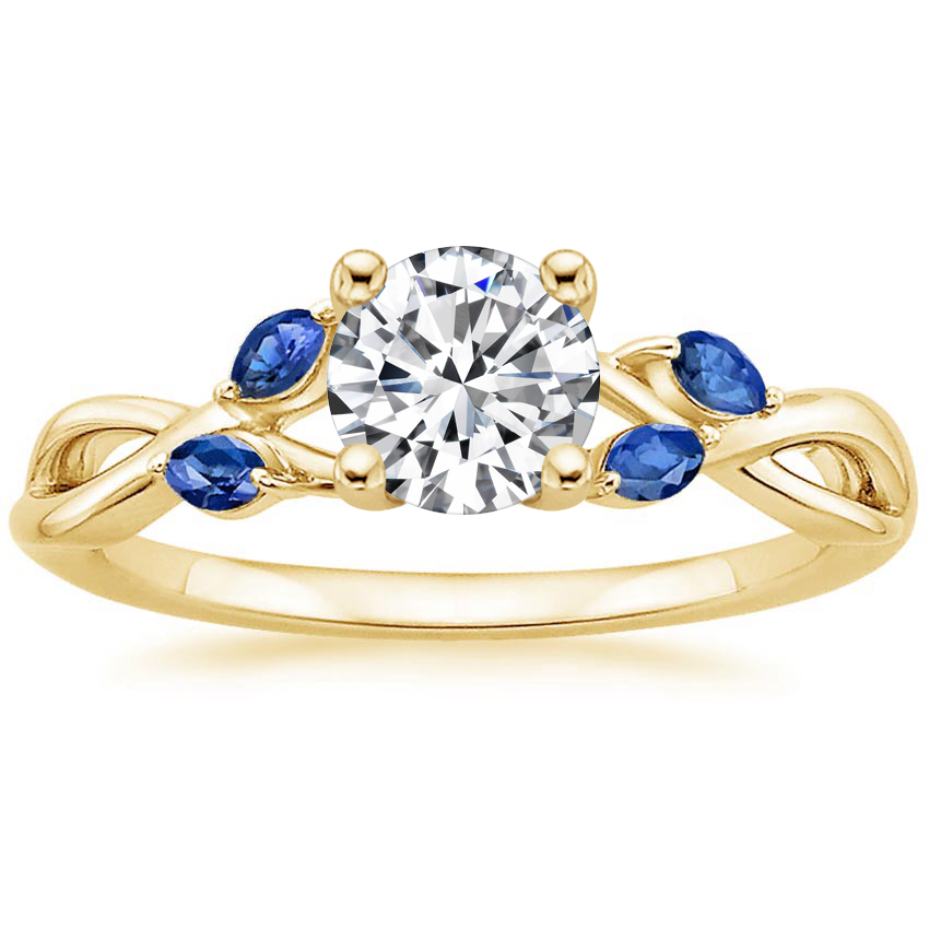 Round 18K Yellow Gold Willow Ring With Sapphire Accents