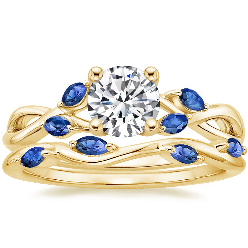 18K Yellow Gold Willow Ring With Sapphire Accents with Winding Willow Sapphire Ring