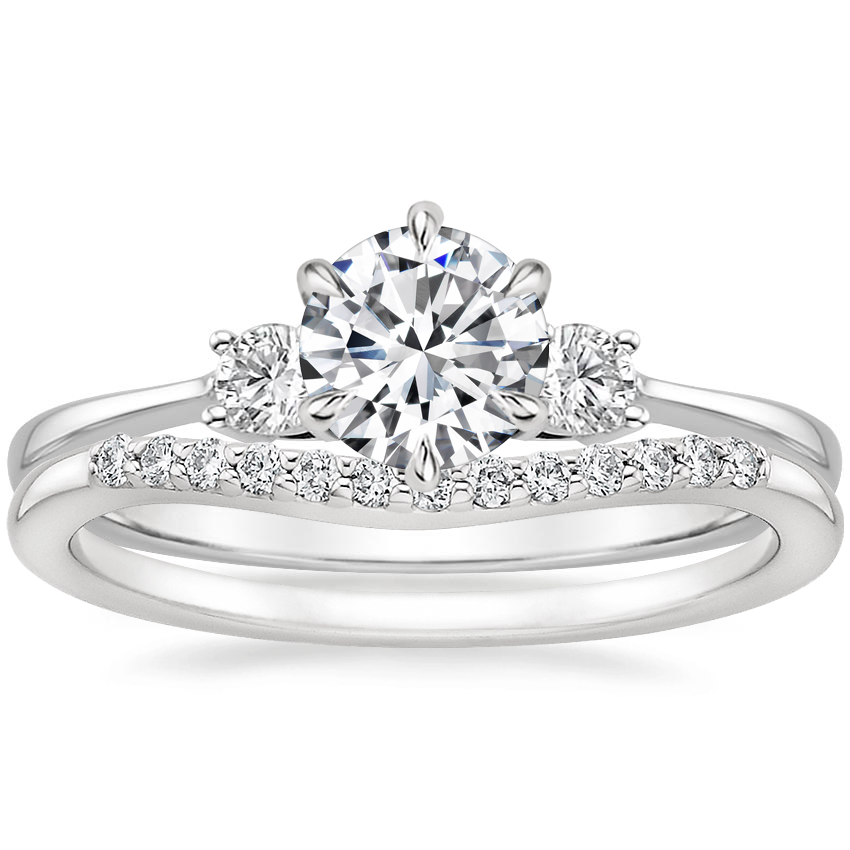 18K White Gold Six Prong Selene with Petite Curved Diamond Ring (1/10 ct. tw.)