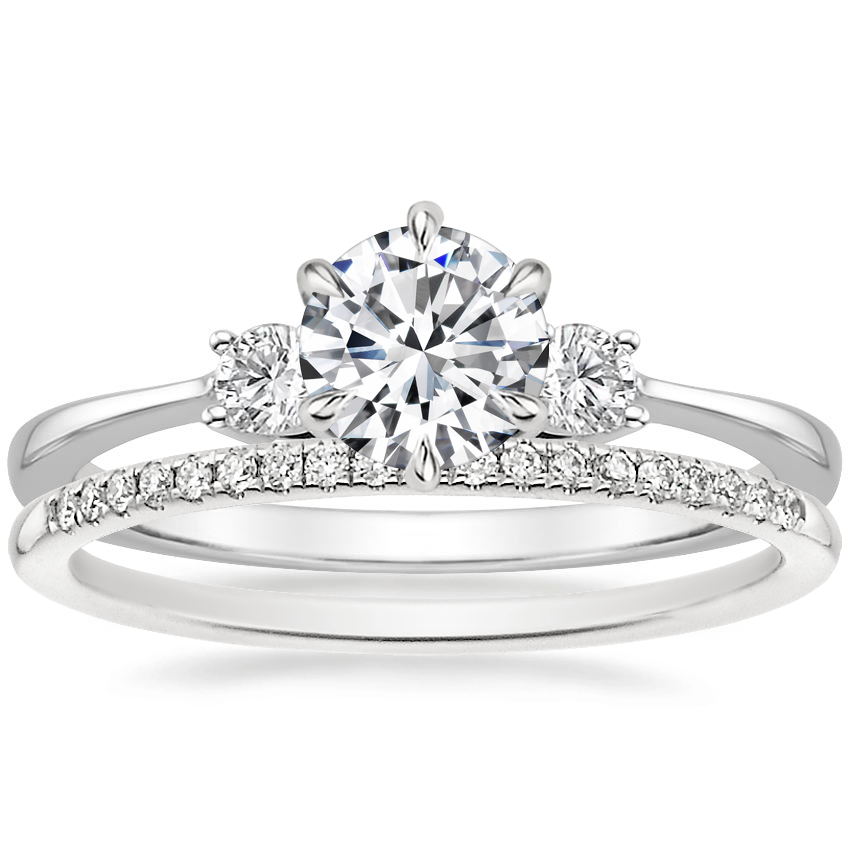 18K White Gold Six Prong Selene with Whisper Diamond Ring (1/10 ct. tw.)