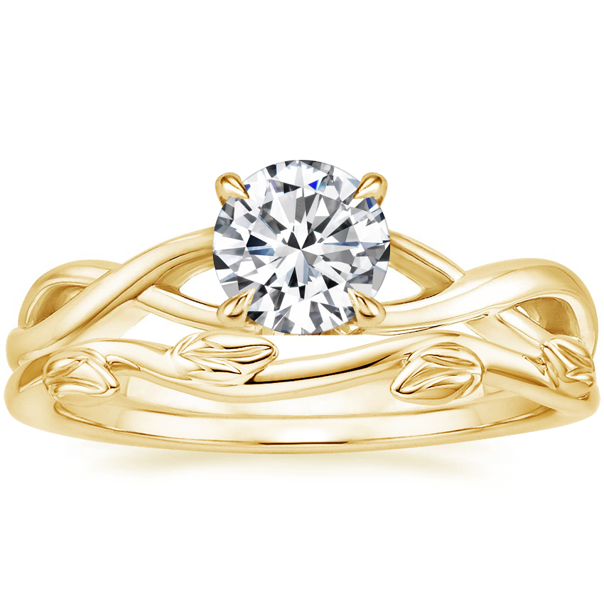 18K Yellow Gold Eden Diamond Ring with Winding Willow Ring