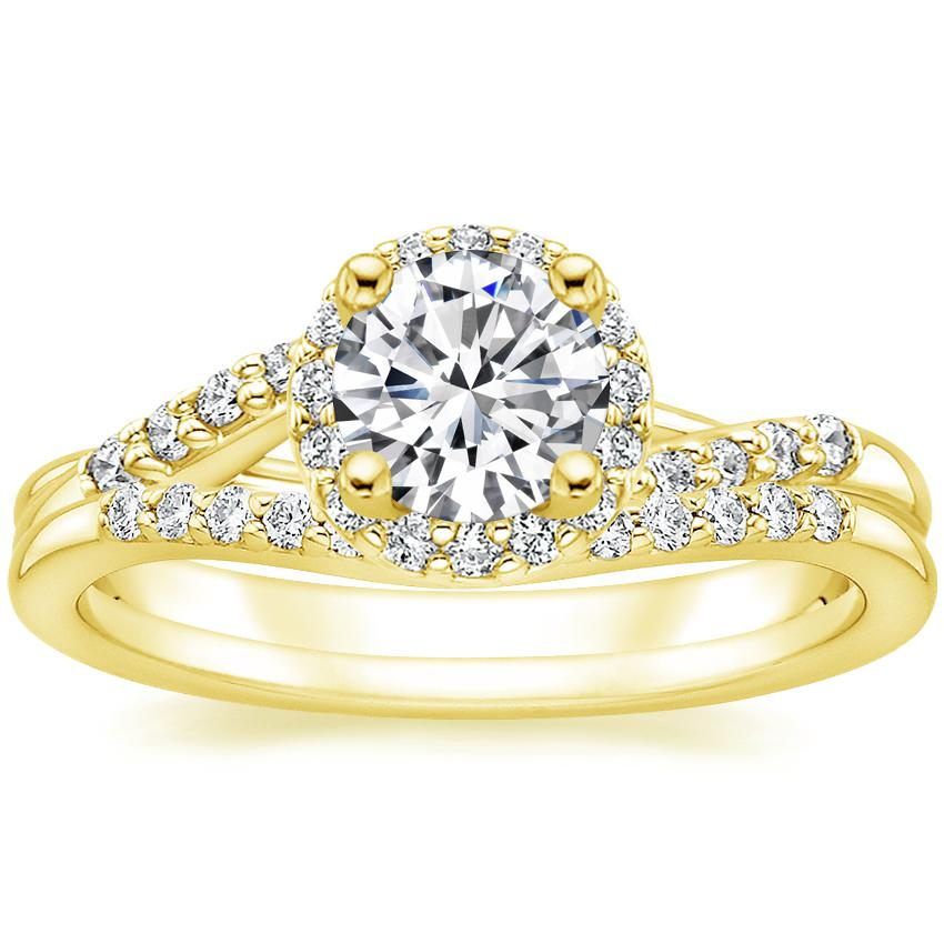 18K Yellow Gold Chamise Halo Diamond Ring (1/5 ct. tw.) with Petite Curved Diamond Ring