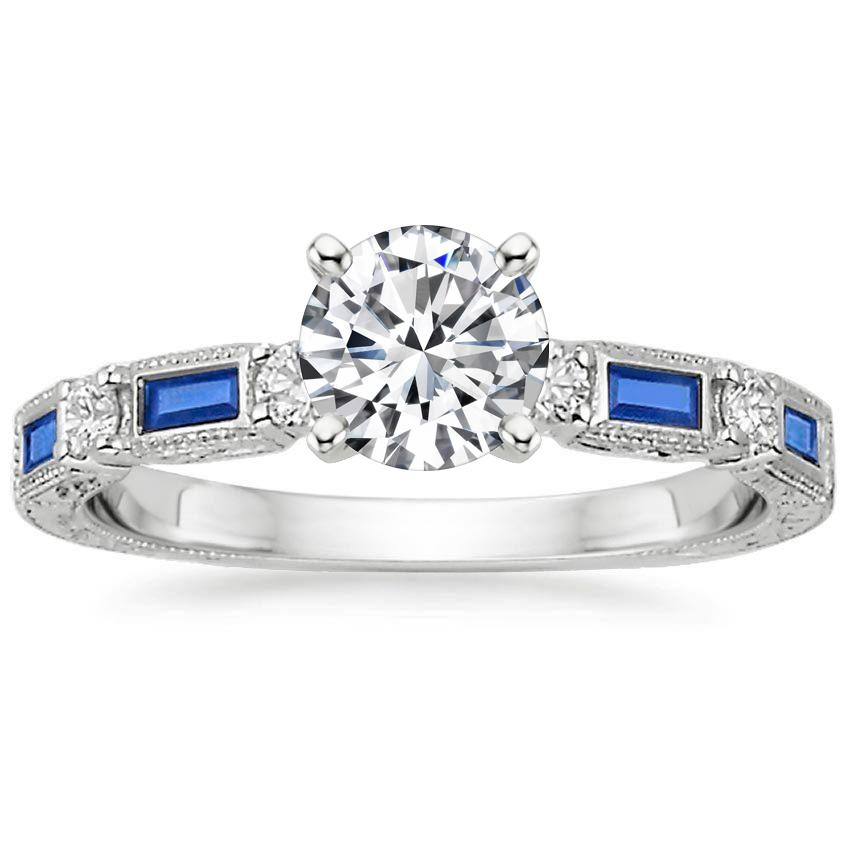 18K White Gold Vintage Sapphire and Diamond Ring, top view